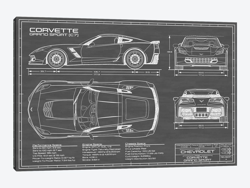 Corvette (C7) Grand Sport Black by Action Blueprints 1-piece Canvas Art Print