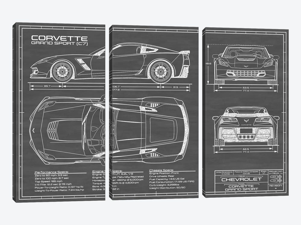 Corvette (C7) Grand Sport Black by Action Blueprints 3-piece Art Print