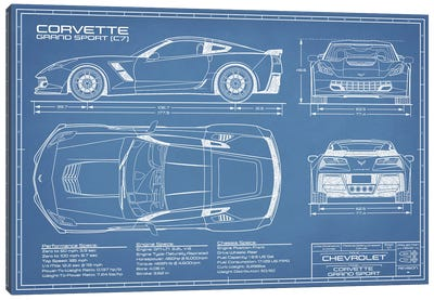 Corvette (C7) Grand Sport Blueprint Canvas Art Print