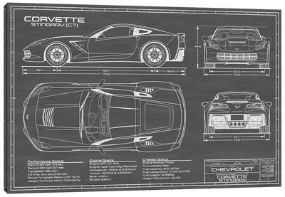 Corvette (C7) Stingray Black Canvas Art Print