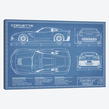 Corvette (C7) Stingray Blueprint Canvas Print #ABP36} by Action Blueprints Canvas Art