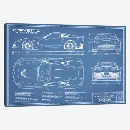 Corvette (C7) Stingray Blueprint Canvas Print #ABP36} by Action Blueprints Canvas Art