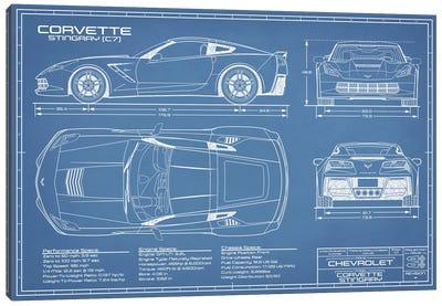 Corvette (C7) Stingray Blueprint Canvas Art Print