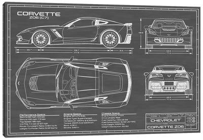 Corvette (C7) Z06 Black Canvas Art Print