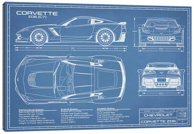 Corvette (C7) Z06 Blueprint Canvas Art Print