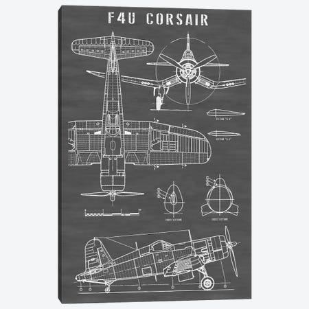 F4U Corsair Vintage Navy Airplane | Black Canvas Print #ABP39} by Action Blueprints Canvas Print