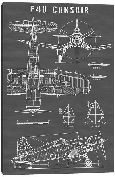 F4U Corsair Vintage Navy Airplane | Black Canvas Art Print
