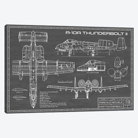 A-10 Thunderbolt II [Warthog] Airplane | Black Canvas Print #ABP3} by Action Blueprints Canvas Print