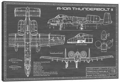 A-10 Thunderbolt II [Warthog] Airplane | Black Canvas Art Print
