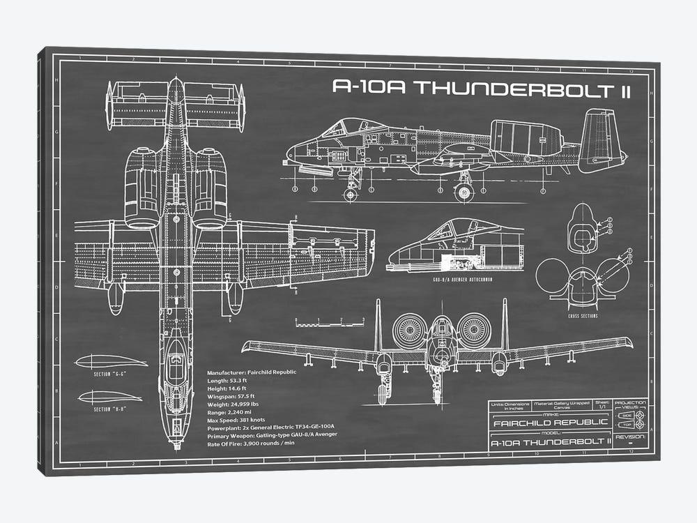A-10 Thunderbolt II [Warthog] Airplane | Black by Action Blueprints 1-piece Canvas Art Print