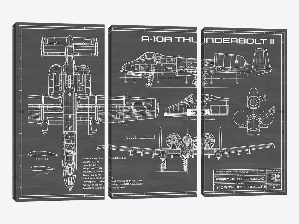 A-10 Thunderbolt II [Warthog] Airplane | Black by Action Blueprints 3-piece Canvas Art Print