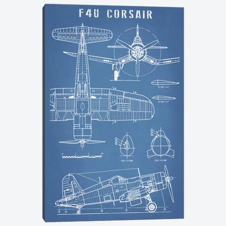 F4U Corsair Vintage Navy Airplane Blueprint Canvas Print #ABP40} by Action Blueprints Canvas Wall Art