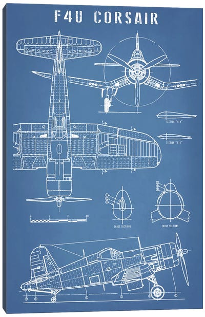 F4U Corsair Vintage Navy Airplane Blueprint Canvas Art Print