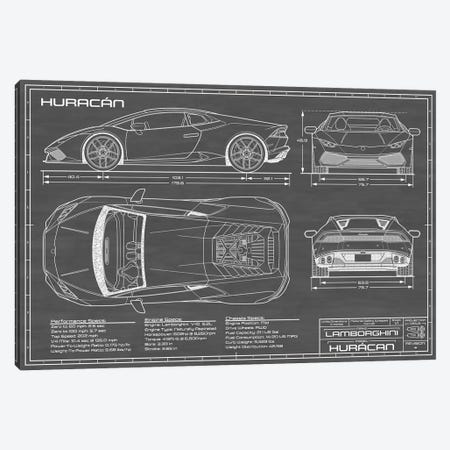 Lamborghini Huracan LP 610-4 | Black Canvas Print #ABP41} by Action Blueprints Canvas Wall Art