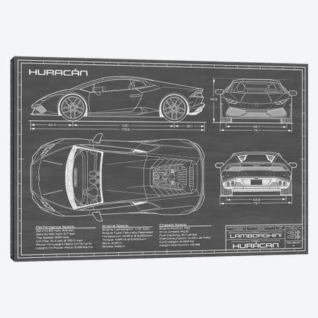 Lamborghini Huracan LP 610-4   Black Canvas Print #ABP41} by Action Blueprints Canvas Wall Art