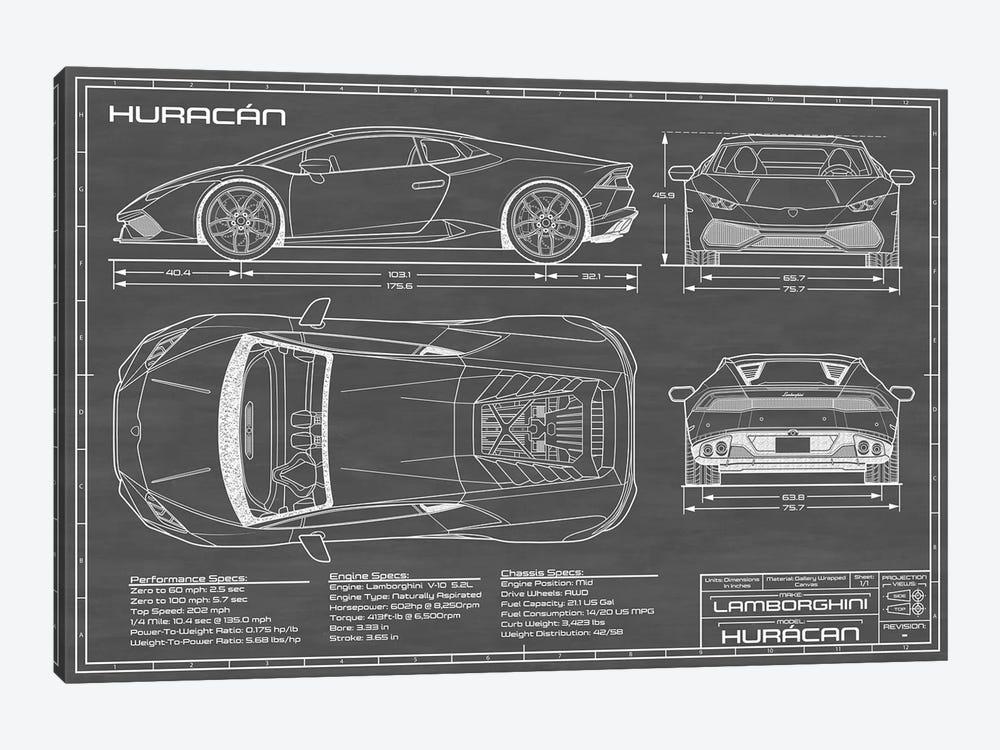 Lamborghini Huracan LP 610-4 | Black by Action Blueprints 1-piece Canvas Wall Art