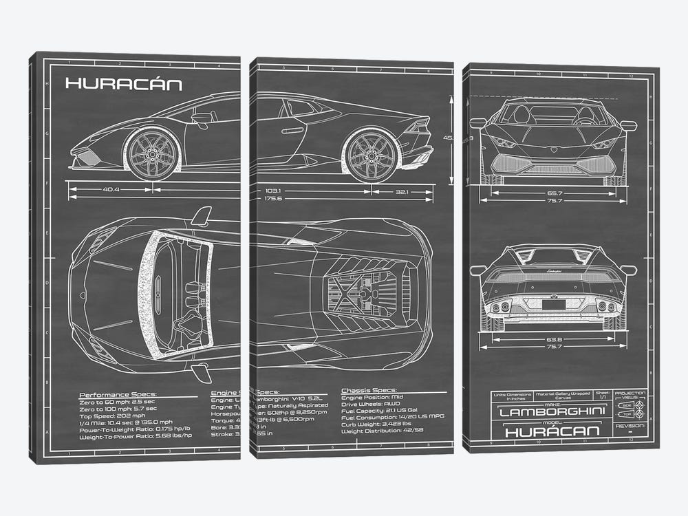 Lamborghini Huracan LP 610-4 | Black by Action Blueprints 3-piece Canvas Art