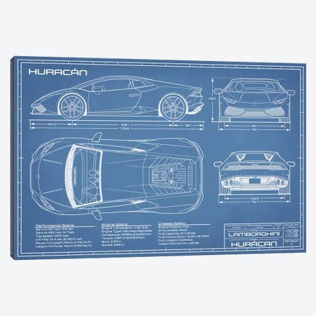 Lamborghini Huracan LP 610-4 Blueprint Canvas Print #ABP42} by Action Blueprints Canvas Wall Art