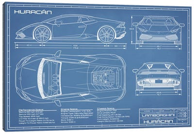 Lamborghini Huracan LP 610-4 Blueprint Canvas Art Print