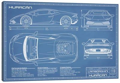 Lamborghini Huracan LP 610-4 Blueprint Canvas Art Print