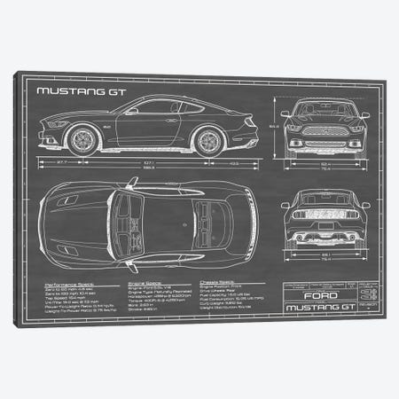 Mustang GT (2015-2017) Black Canvas Print #ABP43} by Action Blueprints Canvas Wall Art
