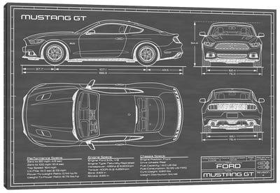 Mustang GT (2015-2017) Black Canvas Art Print