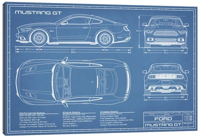 Mustang GT (2015-2017) Blueprint Canvas Art Print