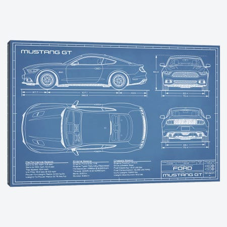 Mustang GT (2015-2017) Blueprint Canvas Print #ABP44} by Action Blueprints Canvas Print