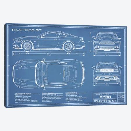 Mustang GT (2015-2017) Blueprint Canvas Print #ABP44} by Action Blueprints Canvas Print