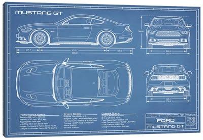 Mustang GT (2015-2017) Blueprint Canvas Art Print