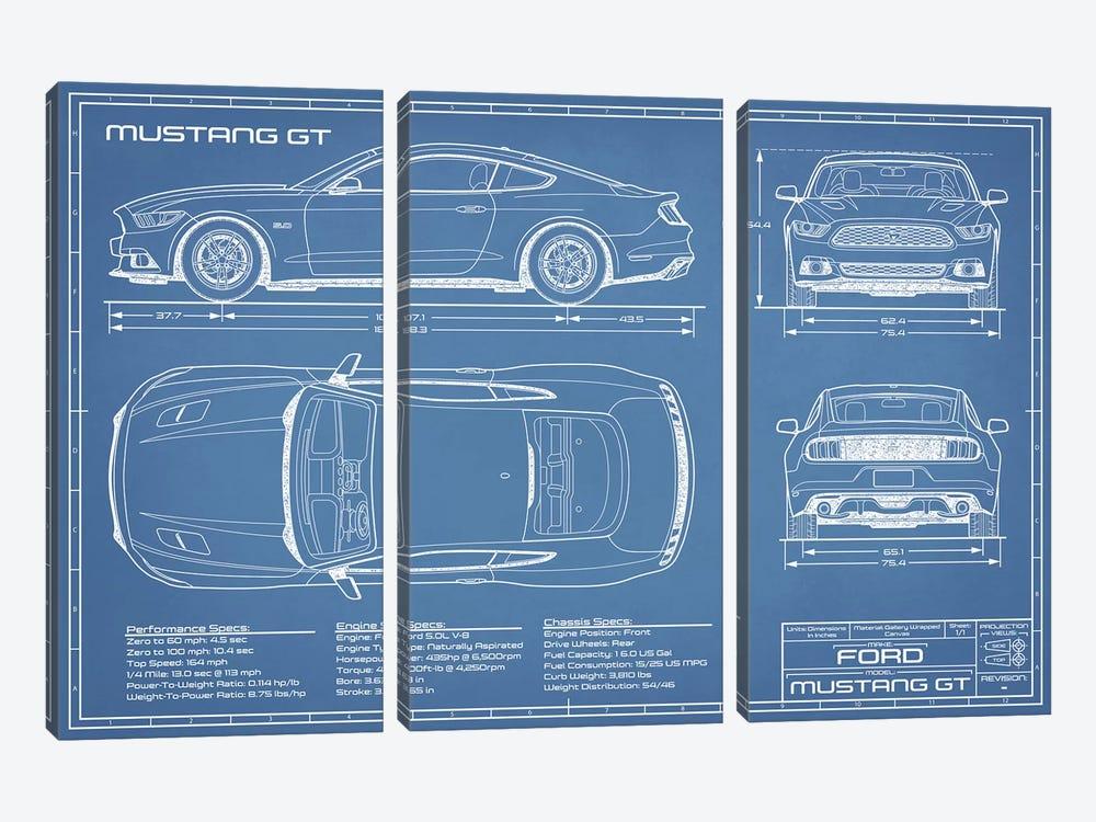 Mustang GT (2015-2017) Blueprint by Action Blueprints 3-piece Canvas Print