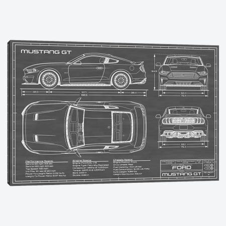 Mustang GT (2018-2020) Black Canvas Print #ABP45} by Action Blueprints Canvas Print