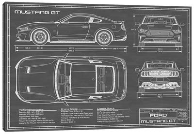 Mustang GT (2018-2020) Black Canvas Art Print
