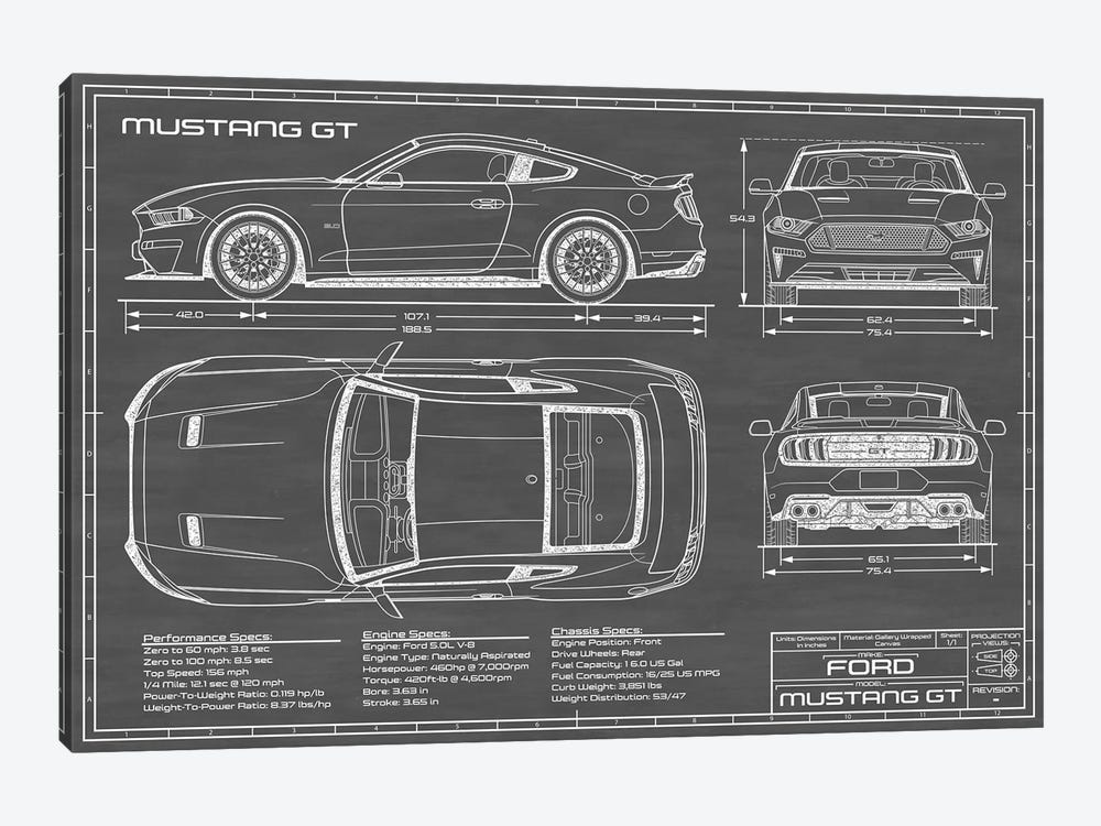 Mustang GT (2018-2020) Black by Action Blueprints 1-piece Canvas Artwork