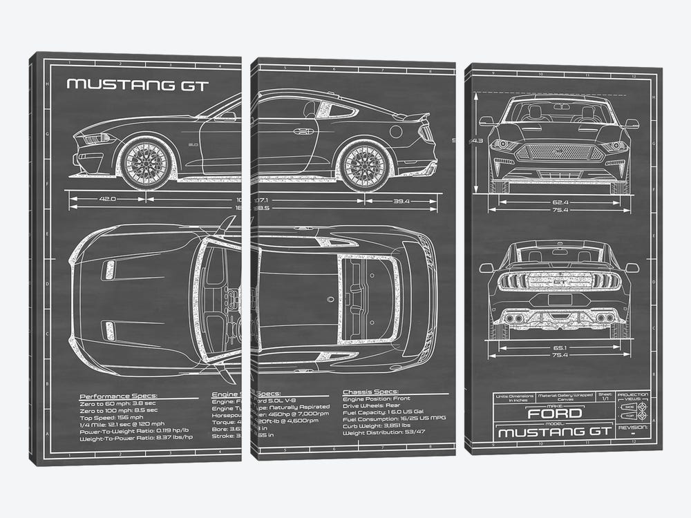 Mustang GT (2018-2020) Black by Action Blueprints 3-piece Canvas Wall Art