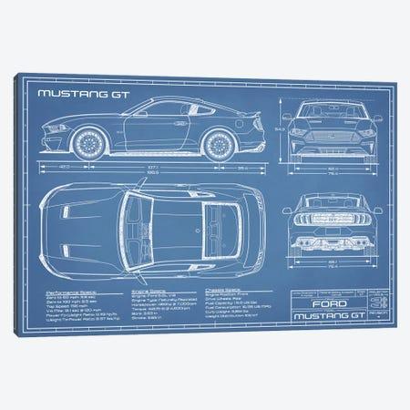 Mustang GT (2018-2020) Blueprint Canvas Print #ABP46} by Action Blueprints Canvas Art Print