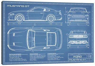 Mustang GT (2018-2020) Blueprint Canvas Art Print