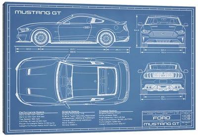 Mustang GT (2018-2020) Blueprint Canvas Art Print