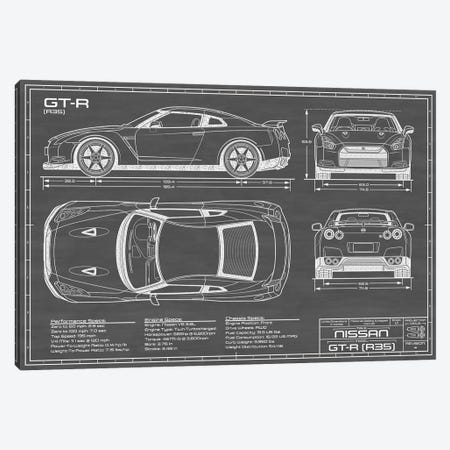 Nissan GT-R (R35) Skyline   Black Canvas Print #ABP47} by Action Blueprints Canvas Art Print