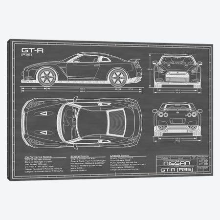Nissan GT-R (R35) Skyline | Black Canvas Print #ABP47} by Action Blueprints Canvas Art Print