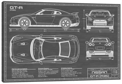 Nissan GT-R (R35) Skyline | Black Canvas Art Print