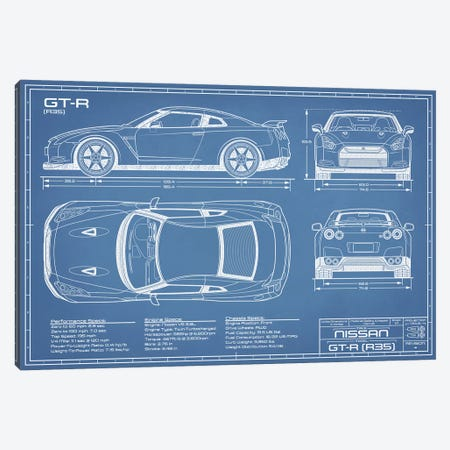 Nissan GT-R (R35) Skyline Blueprint Canvas Print #ABP48} by Action Blueprints Canvas Art