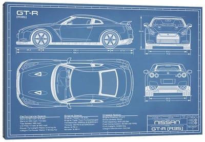 Nissan GT-R (R35) Skyline Blueprint Canvas Art Print