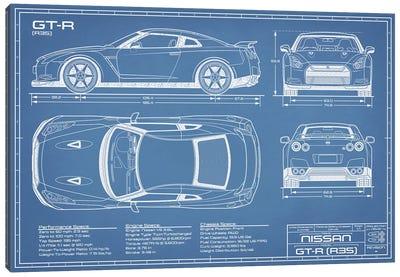 Nissan GT-R (R35) Skyline Blueprint Canvas Art Print