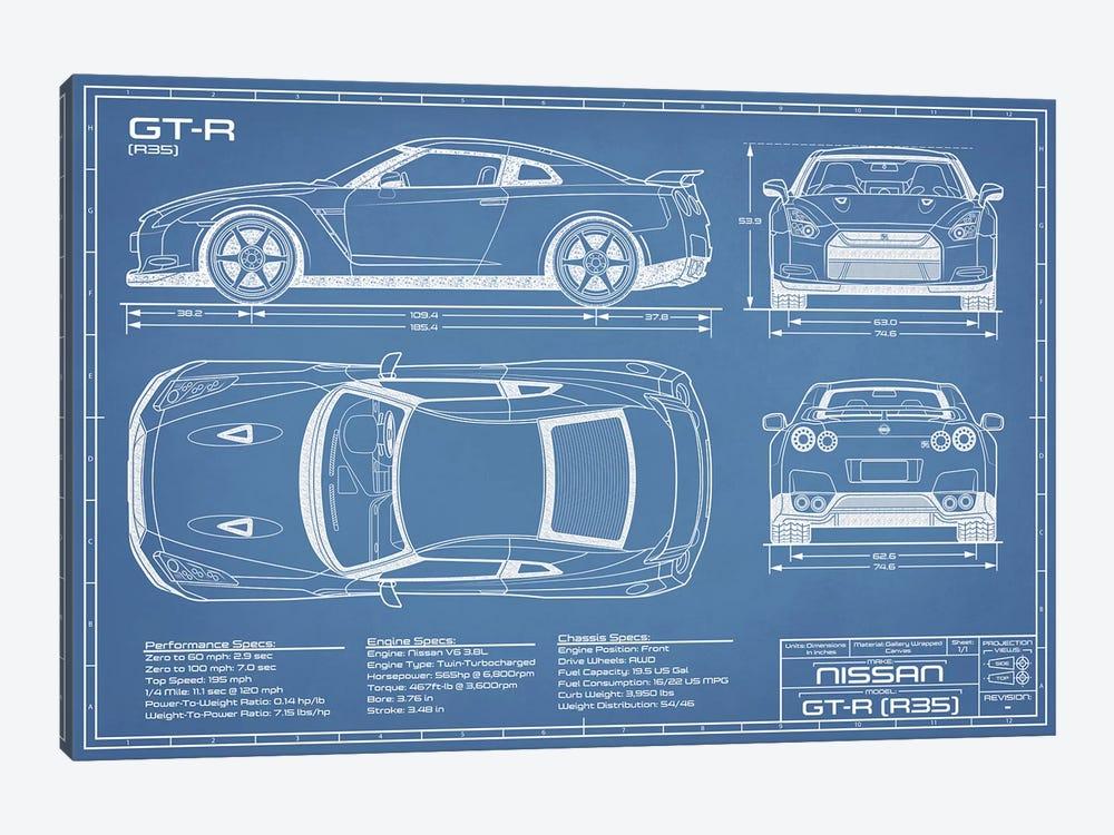 Nissan GT-R (R35) Skyline Blueprint by Action Blueprints 1-piece Canvas Print