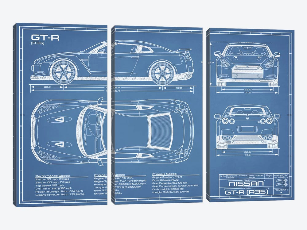 Nissan GT-R (R35) Skyline Blueprint by Action Blueprints 3-piece Canvas Art Print