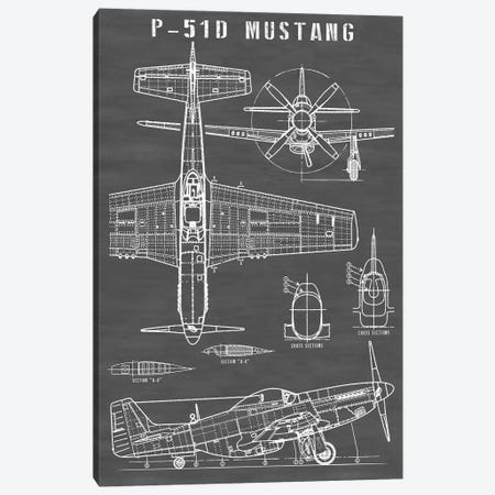 P-51 Mustang Vintage Airplane | Black Canvas Print #ABP49} by Action Blueprints Canvas Art