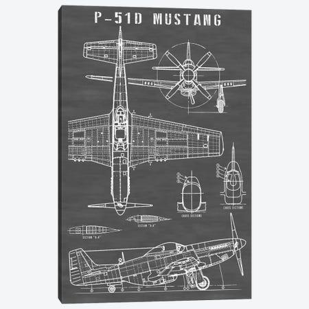 P-51 Mustang Vintage Airplane | Black Canvas Print #ABP49} by Action Blueprints Canvas Art