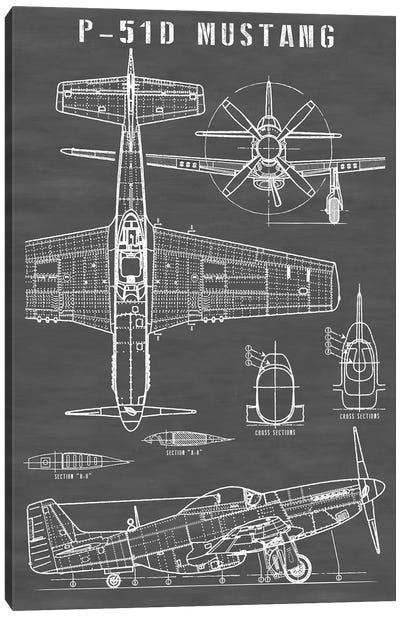 P-51 Mustang Vintage Airplane | Black Canvas Art Print