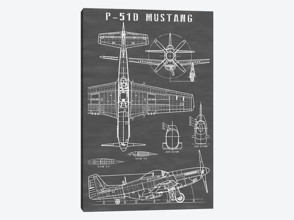 P-51 Mustang Vintage Airplane   Black by Action Blueprints 1-piece Canvas Artwork